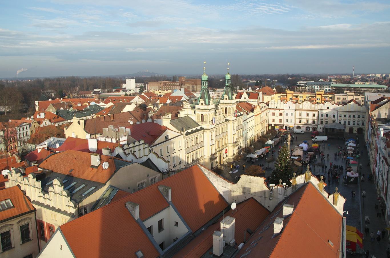 Výhled z věže Zelené brány, Pernštýnské náměstí