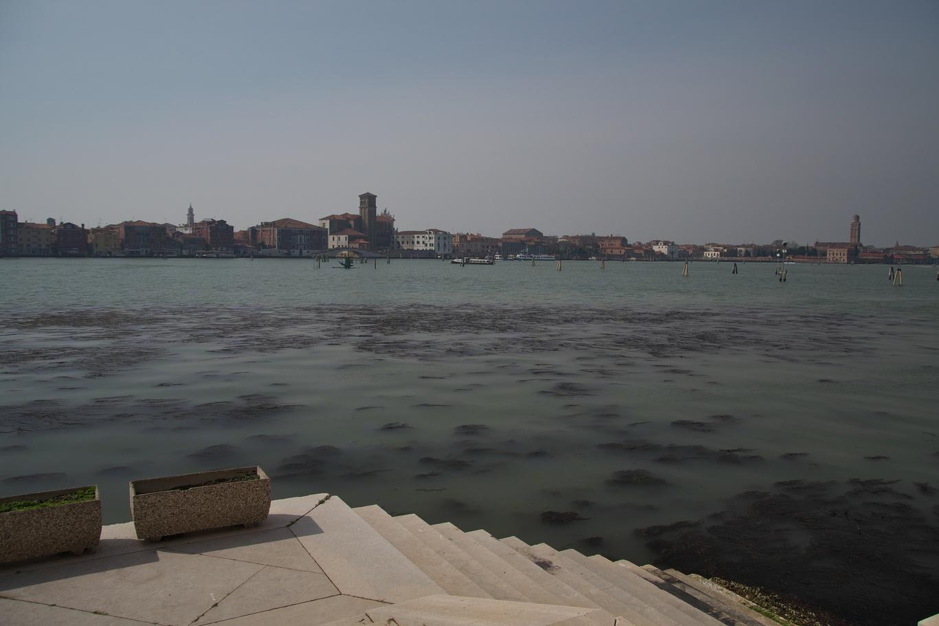 Pohled od hřbitova San Michele na Benátky (jediná vyhlídka, jinak je všude zeď, a stejně přes mříž)