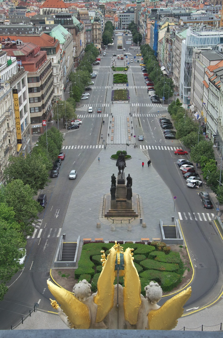 Václavské náměstí z kupole Národního muzea